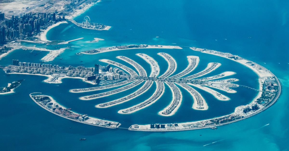 palm island view in dubai