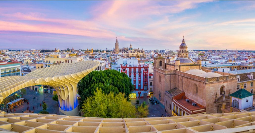 The city center of Seville viewed from the top of the Metropol Parasol.