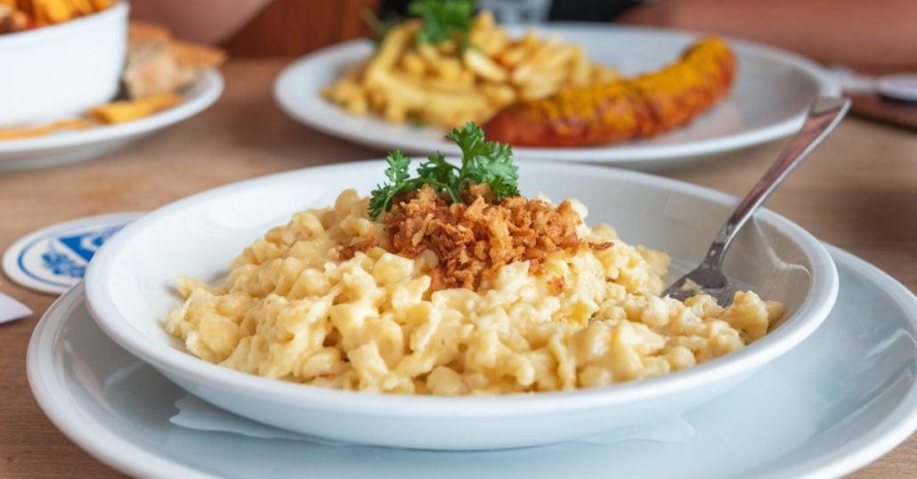egg spaetzle dish