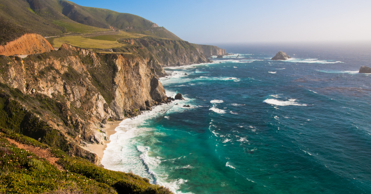 Aerial view of the Big Sur, in California.