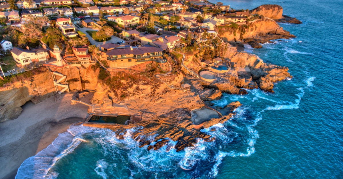 Aerial view of the ocean in Laguna Beach.