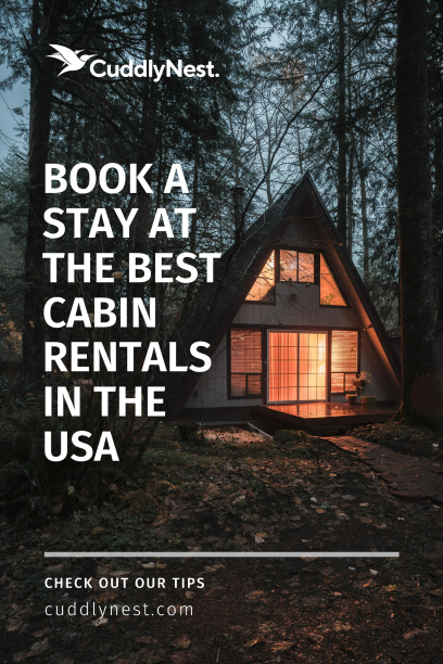 best cabin rentals pin with view of cabin in the woods