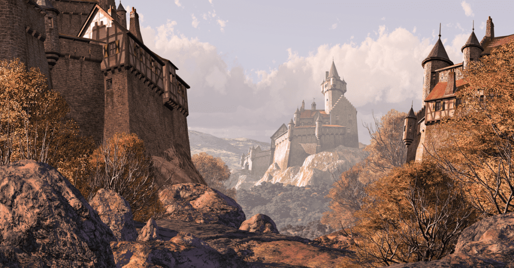view of medieval castles in europe