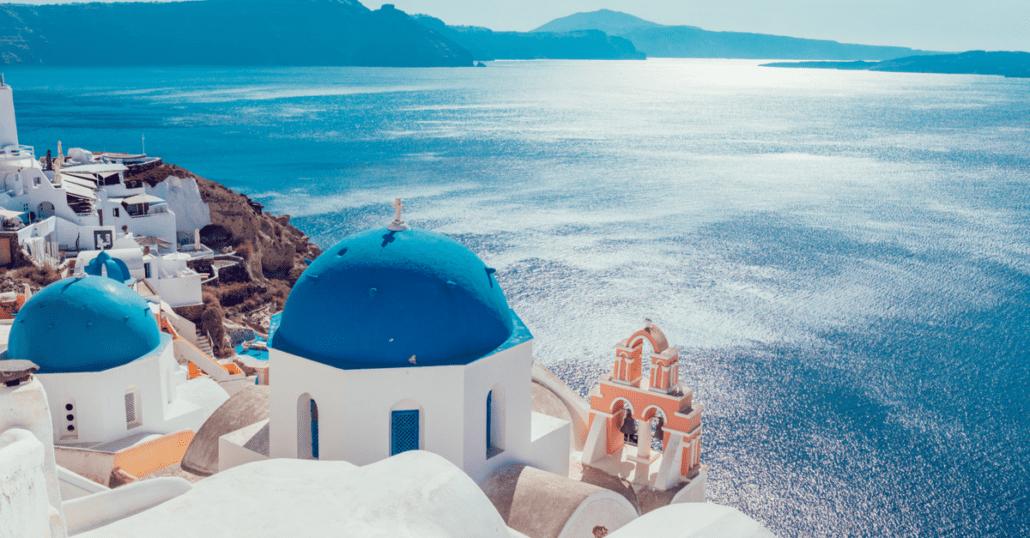 greek island santorini view of the sea