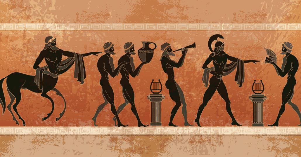 greek mythology on ceramic