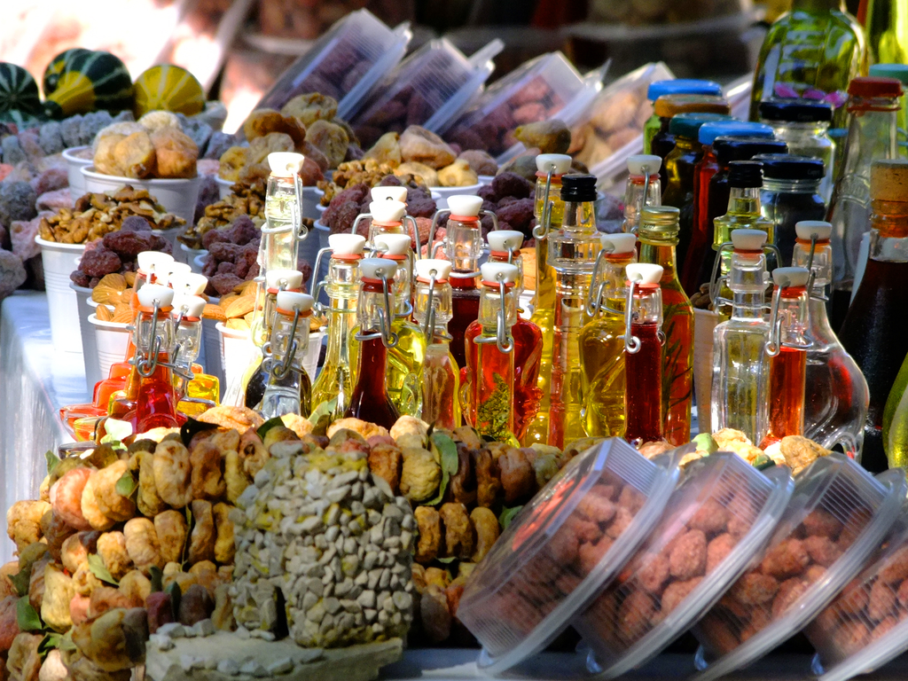 Croatian food with olive oil