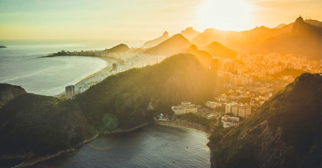 Aerial view of the Baia de Guanabara, in Rio de Janeiro, during the sunset.