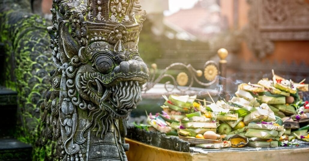 A stone Balinese religious sculpture.