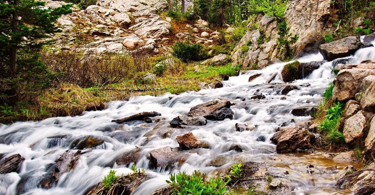 The Granite Falls, at the Rocky Mountain National Park.