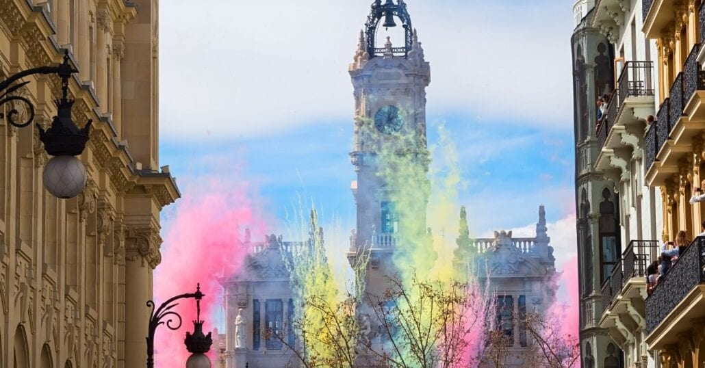 "The city of Valencia during the celebration of ""Falles"", a traditional festival."