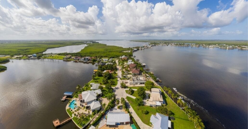 Aerial shot of the island community of Matlacha, Florida, during a sunna day.