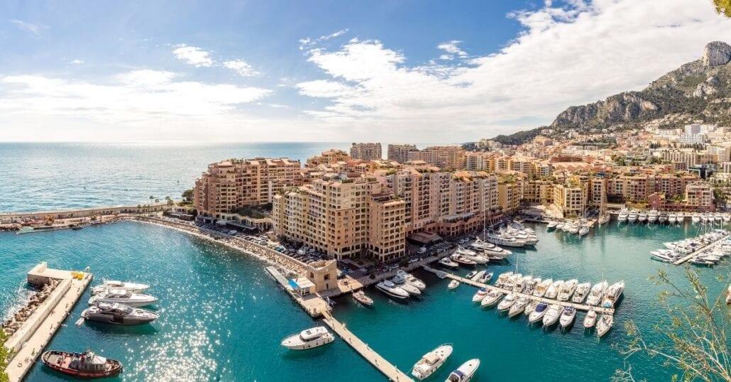 Aerial view of buildings by the ocean in Monaco.