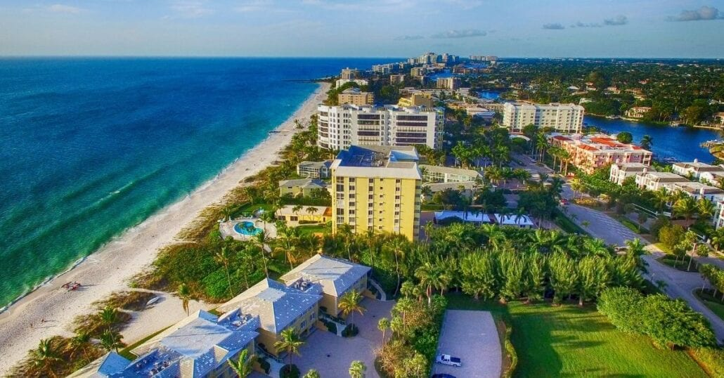 Aerial view of Naples, Florida, during the day.