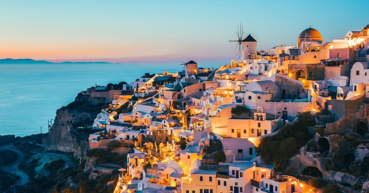The Oia Santorini Village at dusk.