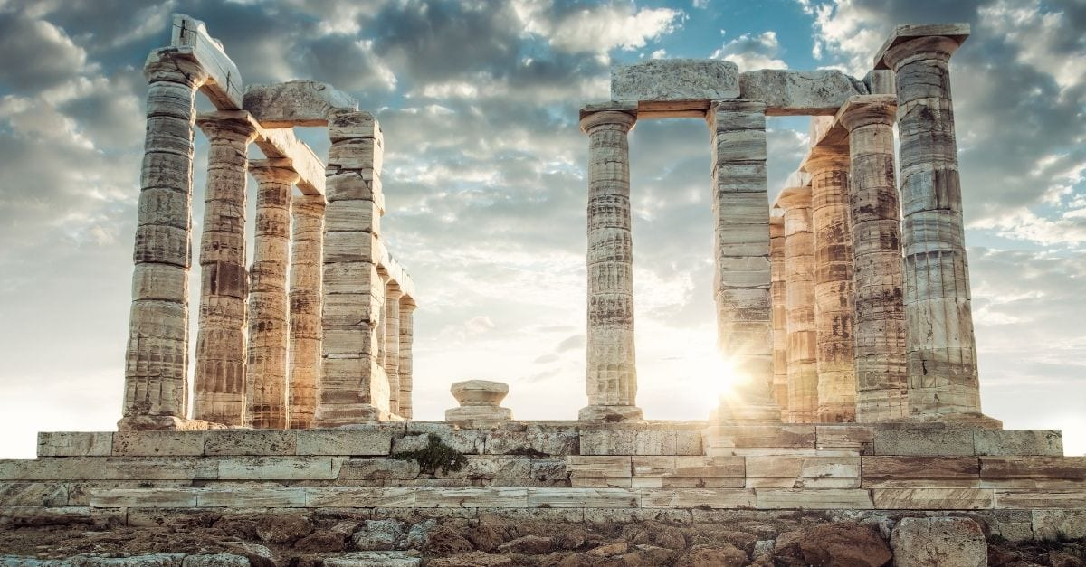 The ruins of the Poseidon Temple, in Cape Sounion, Greece.