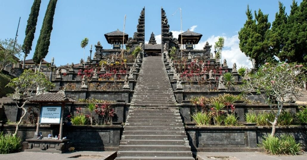 Stone stairs leading to the Pura Besakih Temple, in Bali.