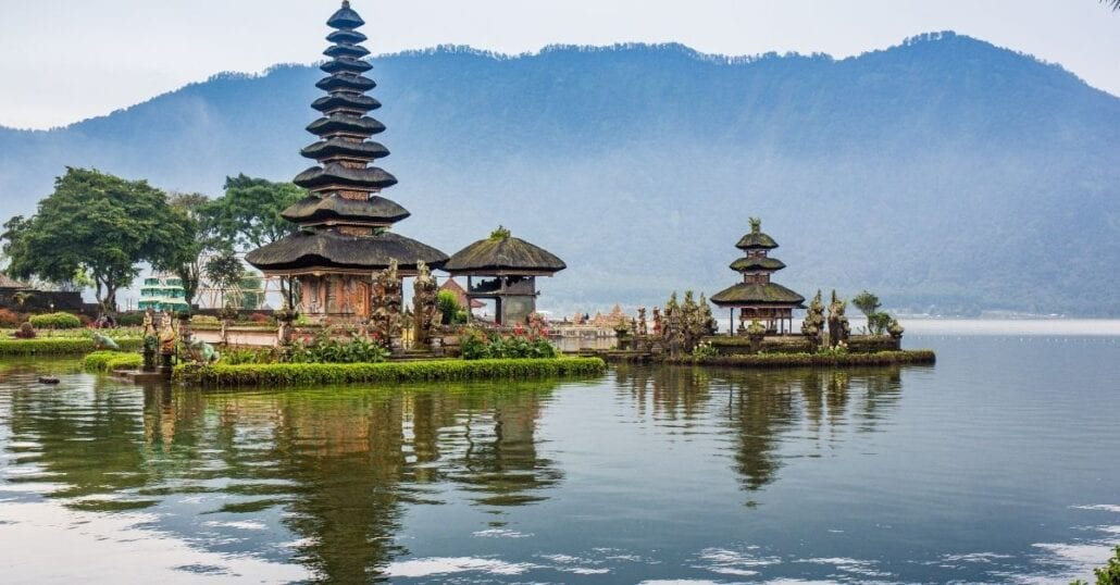 View of the Pura Ulun Danu Bratan Temple, also known as The Floating Temple, in Bali.