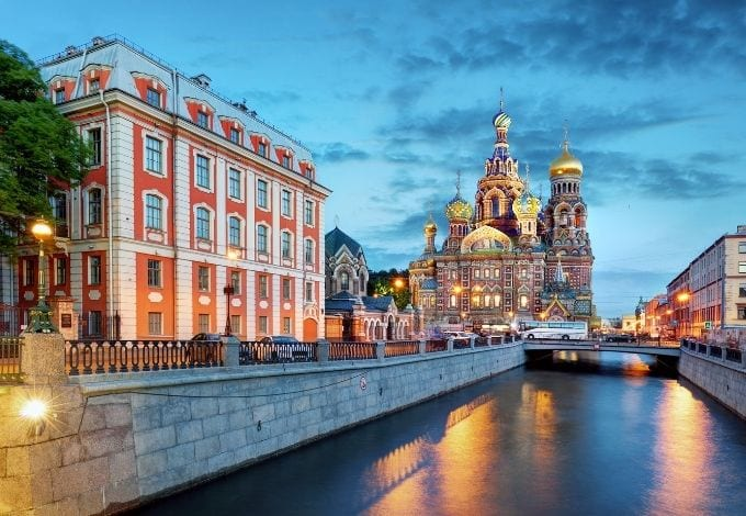A water canal leading to the Church of the Savior on Spilled Blood, in St. Petersburg.