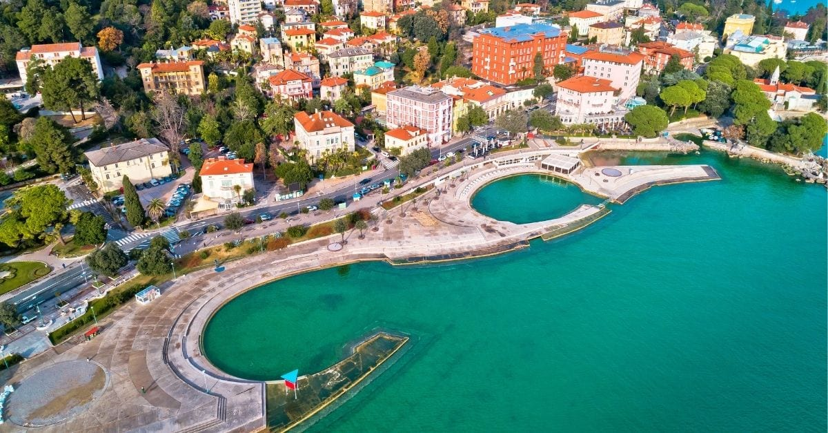 Aerial panoramical view of the Slatina Beach, in Croatia.