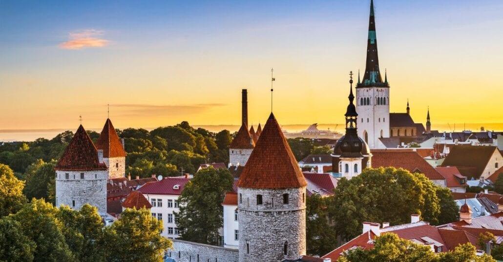 Historic buildings in Tallinn, Estonia, during the sunset.