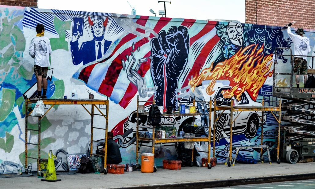 Wall art in New York City illustrating American politics and anti-Trump sentiments