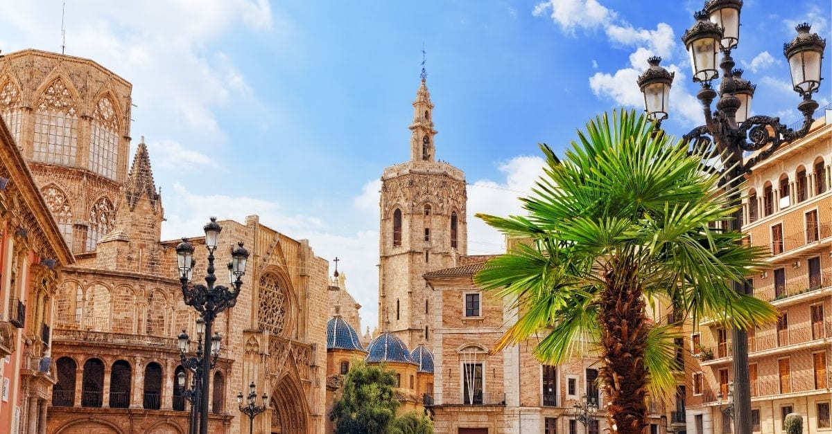 The historic city center of Valencia, Spain.