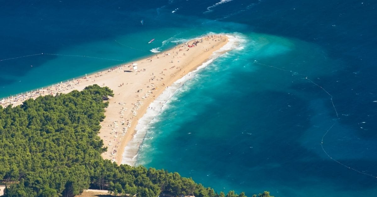 Aerial view of the Zlatni Rat Beach, in Croatia.