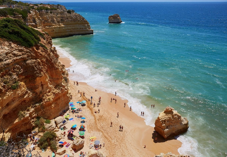 Aerial view of a beach in Faro, Algarve.