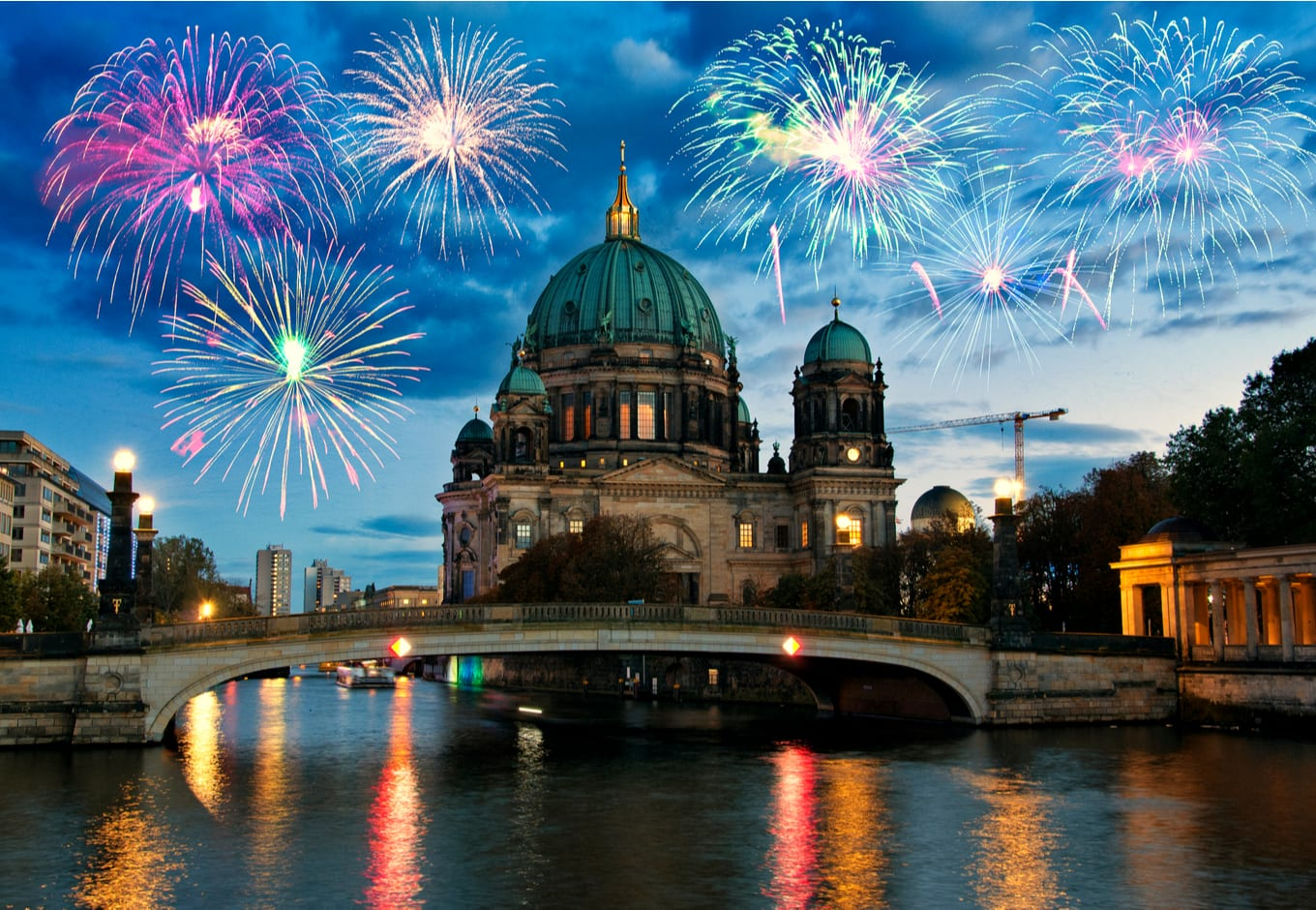 Fireworks over Berliner Cathedral in Berlin, Germany.