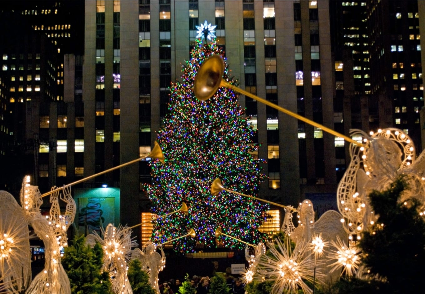The decorated Christmas tree at the Rockefeller Center, in New York.