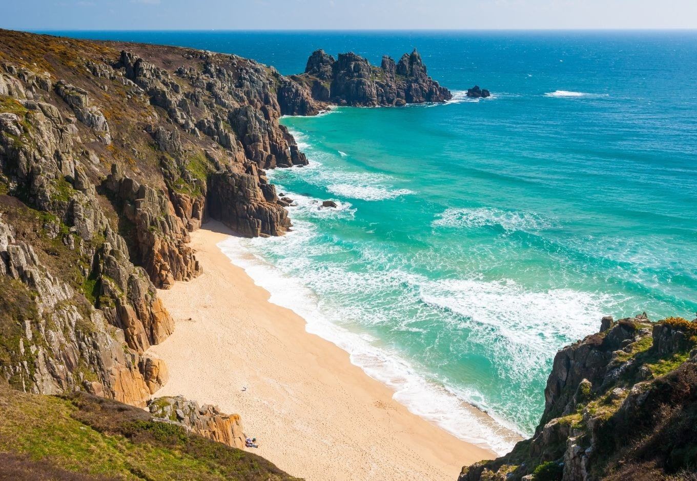 View of a beach in Cornwall, UK.