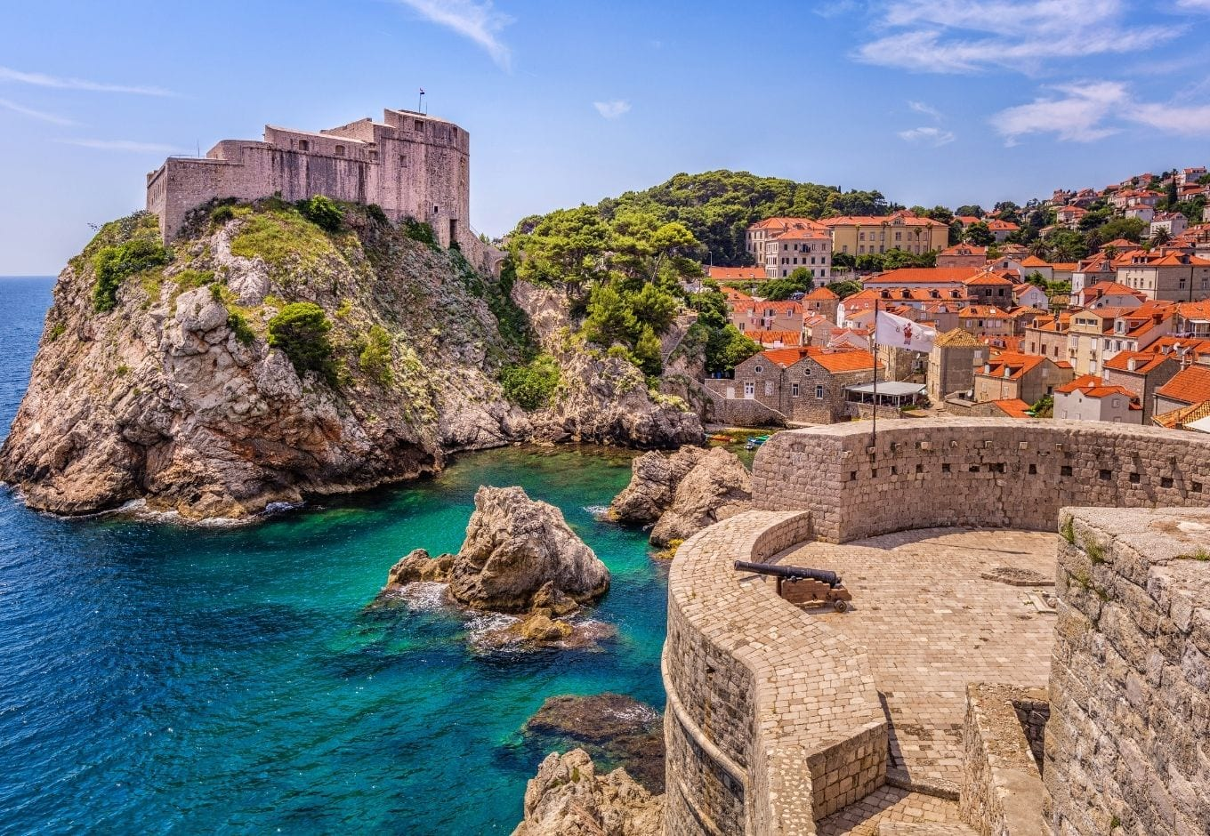 Overlooking the city of Dubrovnik, Croatia, with views of the Adriatic Sea, Fort Lovrijenac and the Old Town.