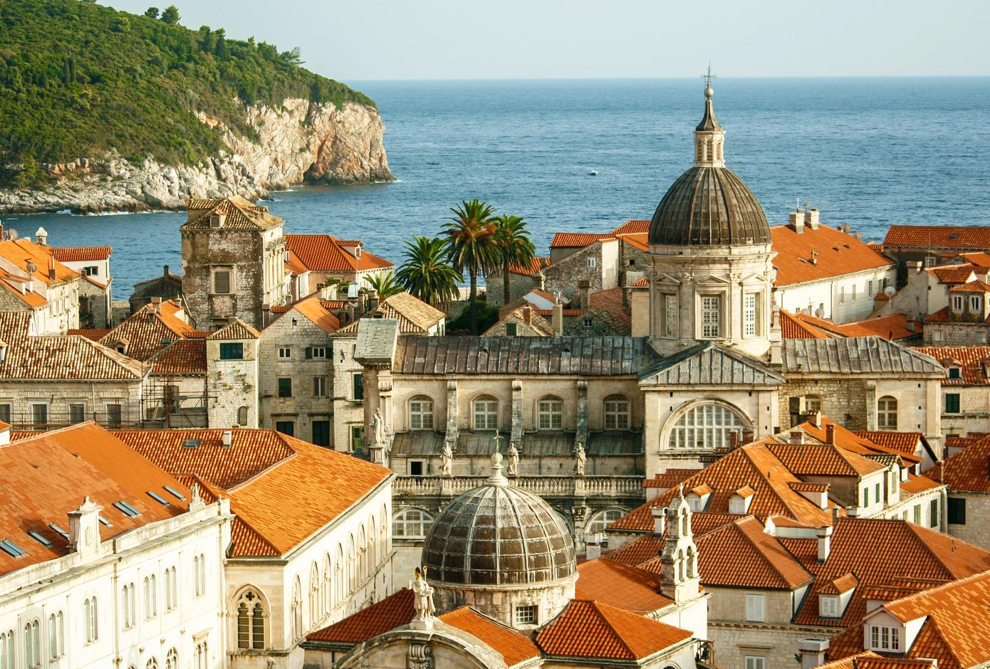View of Dubrovnik's Old Town with historic buldings, and the Adriatic Sea on the back.