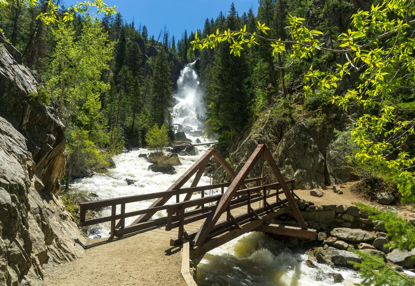 A small bridge over the river at Fish Creek Falls, Colorado.