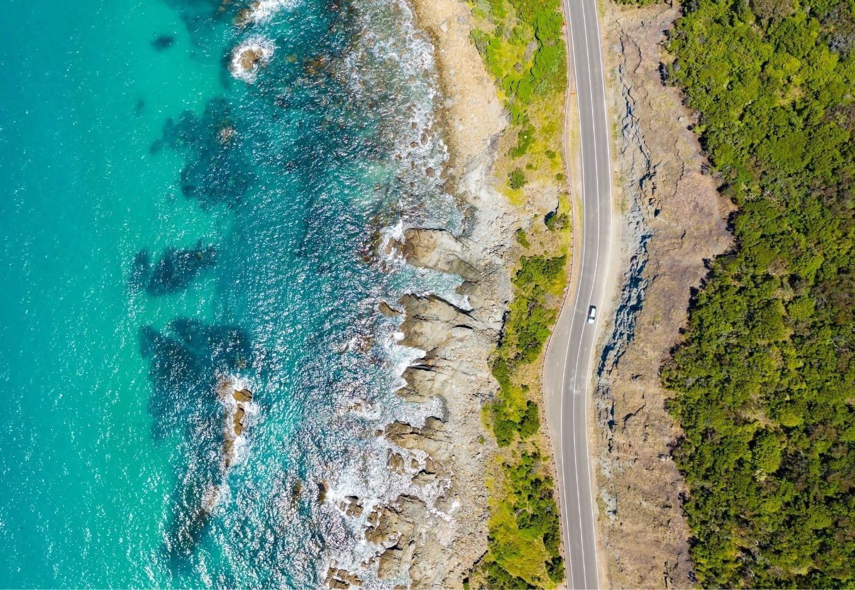 Aerial view of the Great Ocean Road, in Australia.