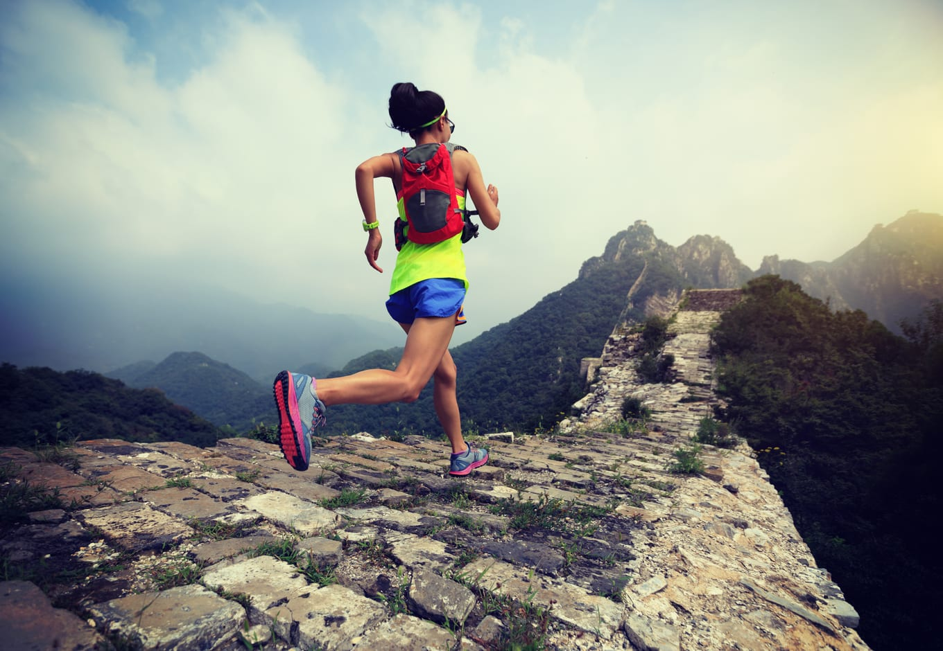 Woman running the Great Wall Marathon, in China.