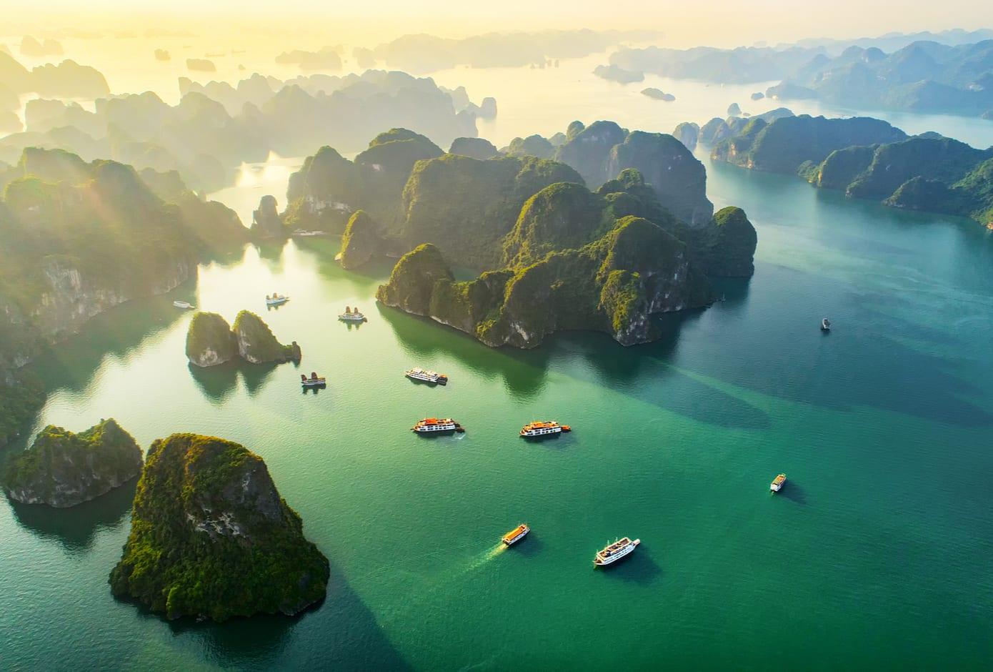 Aerial View of Ha Long Bay, in Vietnam.