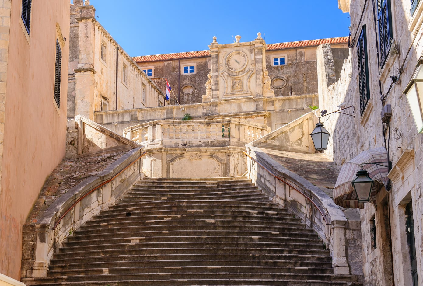 The Jesuit Staircase leading up to the Jesuit Church of St. Ignatius Loyola and the old Collegium Ragusinum in Dubrovnik
