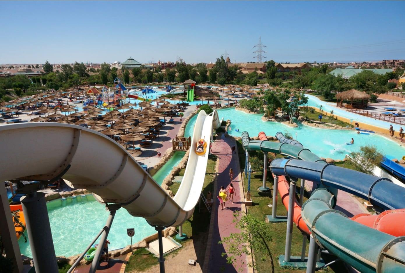 Water slides within the Jungle Aquapark Resort in Hurghada, Egypt