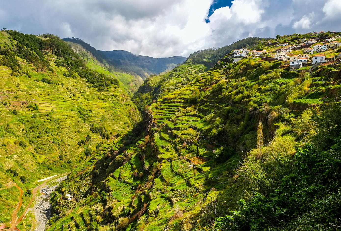 View of the island of Madeira Island's eternal spring, laurel forests and levades.