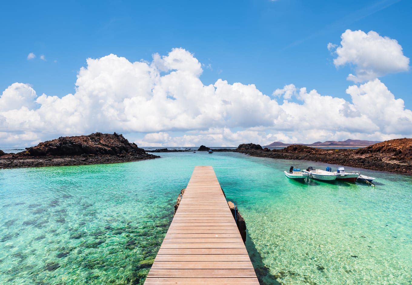 The wooden jetty of the Isla de Lobos in the Canary Islands, Spain.