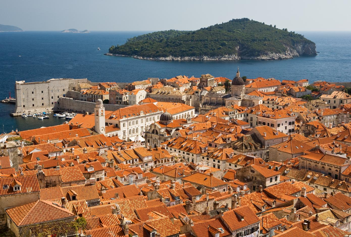Old Town of Dubrovnik and Lokrum Island, in Croatia.