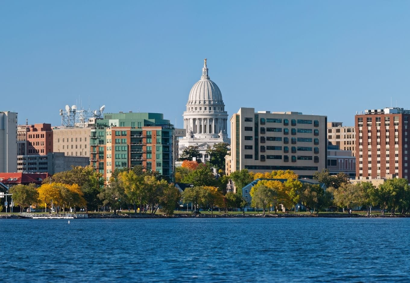 Madison's skyline viewed from the river.