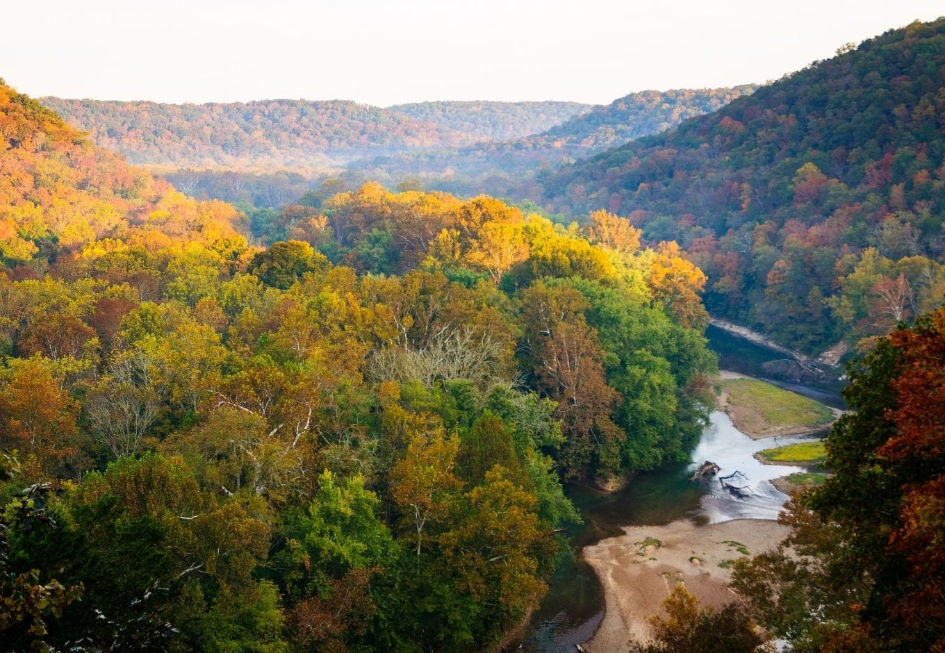 Aerial view of the  orange and yellow fall trees at the Mammoth Cave National Park.