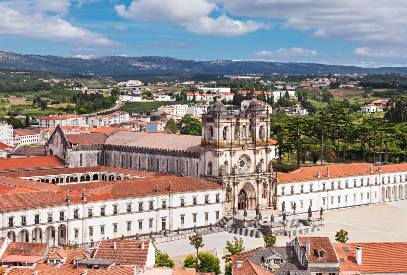 Aerial view of Alcobaça Monastery, in Portugal