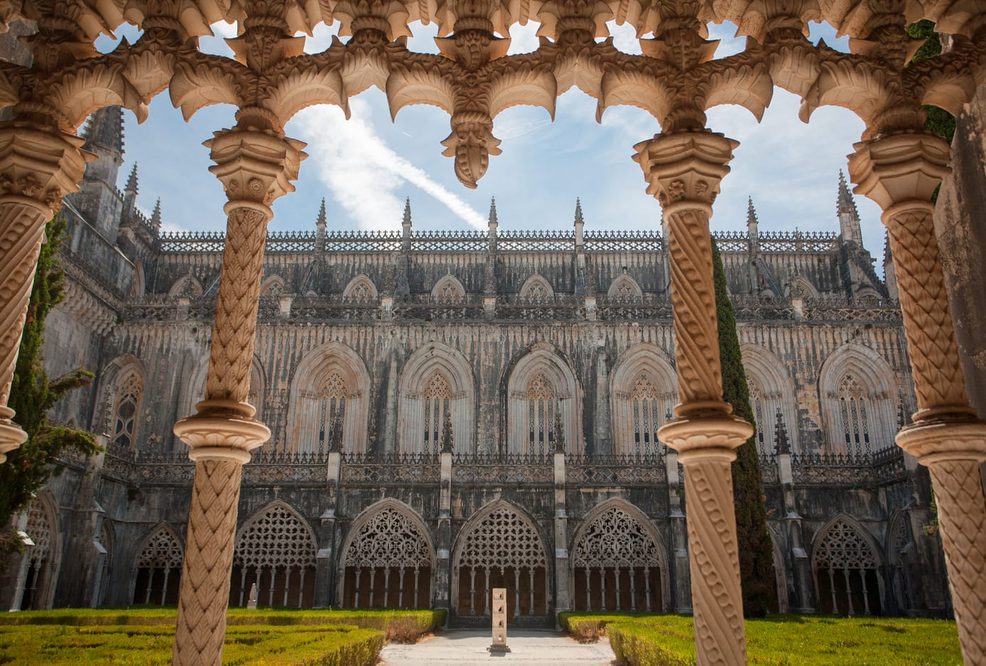 The monastery of Batalha with gothic towers, in Portugal