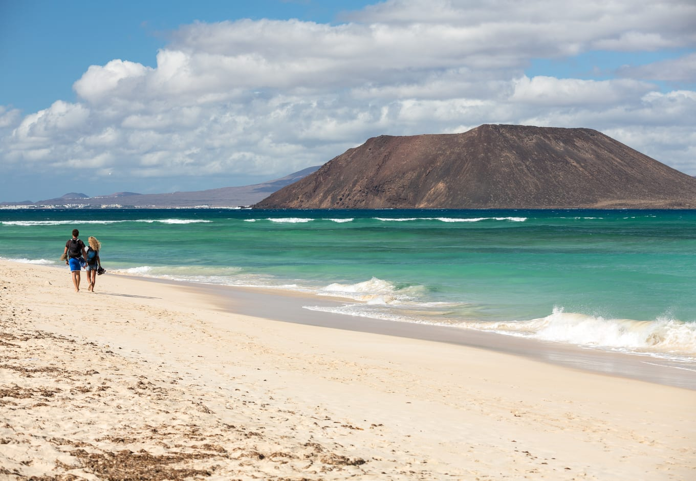 View of Lobos island from a Beach in Corralejo, Canary Islands, Spain