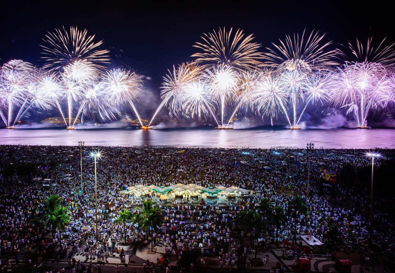 New Years Eve fireworks at Copacabana beach, in Rio de Janeiro.