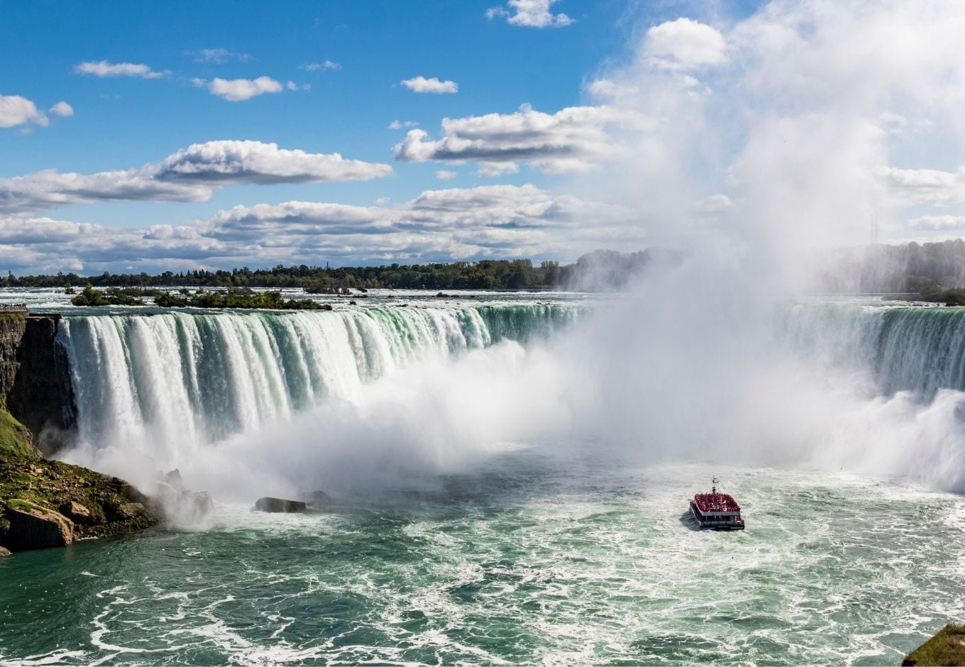 View of the Niagara Falls during the day.