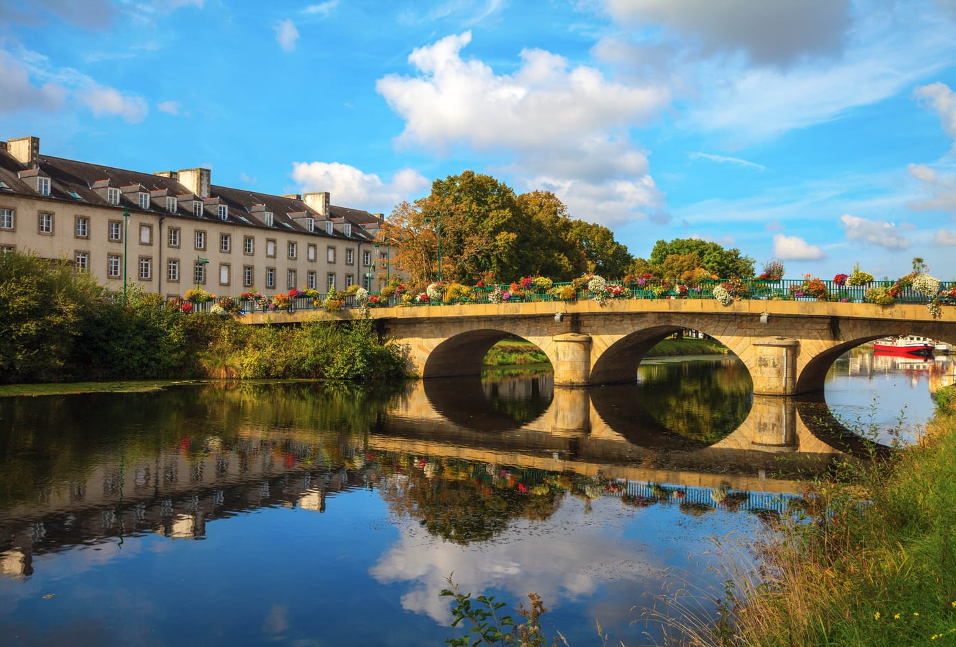 A bridge on Nantes Brest canal in Pontivy, Brittany, France.